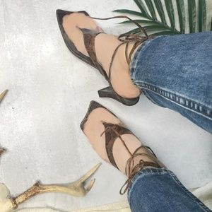 80s Genesis Italy Snake Square Toe Lace Up Heels